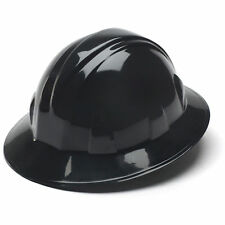 Pyramex Hard Hat Black Full Brim with 4 Point Ratchet Suspension Safety HP24111