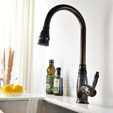 New Antique Oil Rubbed Bronze Brass Pull Out Kitchen Sink Faucet Basin Mixer Tap