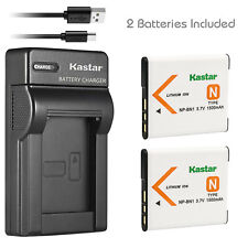 Kastar 2 Battery + Charger for Sony NP-BN1 N Cybershot DSC-QX10 TX10 W830 WX220