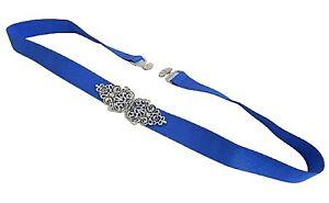 "0.8"" Womens Royal Blue Elastic Silver Vintage Jeweled Waist belt"