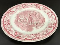 Collectible Vintage Currier & Ives USA Red/Pink Home Sweet Home - HOMER LAUGHLIN