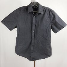 Murano Men Slim Fir Medium Charcoal Gray Short Sleeve Button Down Casual Shirt