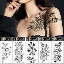 Art Sticker Waterproof Temporary Tattoo Black Sketch Rose Flower Fake Cool Nice