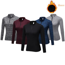 Women Thermal Compression Shirt Gym Running Base Layer Mock Neck Long Sleeve Top