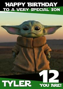 Personalised Birthday card  Star wars Baby Yoda inspired any name/relation/age