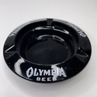 Vintage 1960s Olympia Beer Brewery Black Glass Ashtray
