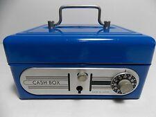 Vintage Blue Metal Cash Box Bank