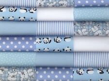 """Fabric patchwork squares 30 x 4"""" 10cm cotton quilting craft baby boy blue 1K"""
