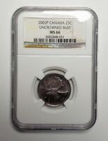 2003 P Canada 25 Cents Uncrowned New Effigy Coin NGC MS 66