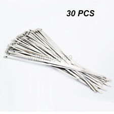 30pcs Strong Chrome Stainless Steel 8'' Metal Self Locking Cable Ties Zip Wraps