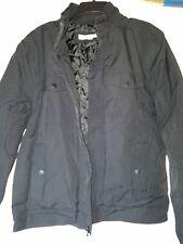 Men's Kenneth Cole Military Style Fabric Full Zip Jacket Coat Black M 4 Pocket