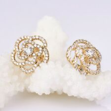 Zirconia Yellow Gold Stud Flower Earrings Stunning Lady Fit Charms White Cubic