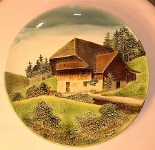 "ANTIQUE MAJOLICA GERMAN PLATE MARKED G S ZELL BADEN COUNTRY SCENE 13"" RARE"