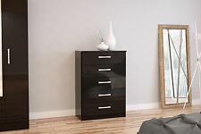 Birlea Lynx High Gloss All Black 5 drawer wide chest  bedroom new