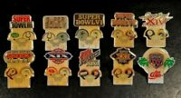 Lot of 10 Different NFL Super Bowl Starline Collector Pins, Vintage, Rare