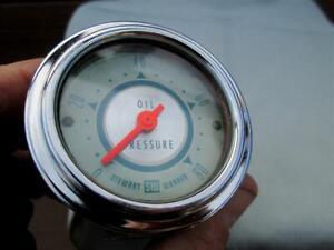 Vintage Stewart Warner Twin Blue Oil Pressure Gauge 0-80 PSI Mechanical 1962 WOW