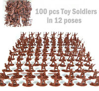 100 pcs Military Plastic Toy Soldiers Army Men Red 1:72 Figures 12 Poses