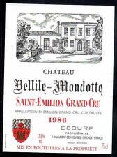 Étiquette  Château BELLILE MONDOTTE. 1986. SAINT-EMILION Grand Cru
