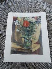 Ancien dessin à l'encre , aquarelle , bouquet de fleurs, signé voir Lunéville