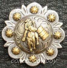 "Set of 6 WESTERN HORSE TACK GOLD BARREL RACER BERRY CONCHOS 1"" screw back"