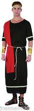 Mens Greek Grecian Noble Man Roman Caesar Black Toga Fancy Dress Costume Outfit