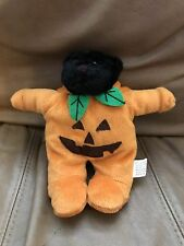 "Halloween Black Bear Pumpkin Costume 7"" Plush Stuffed Toy 2000 Four Star Int"