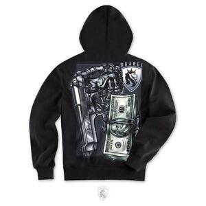 OG Abel OGAbel Plomo Plata Money Skeleton Skull Gun Adult Mens Hoodie AH065