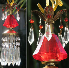 1 Vintage ruby Lucite mini Brass hanging lamp chandelier crystal glass prisms