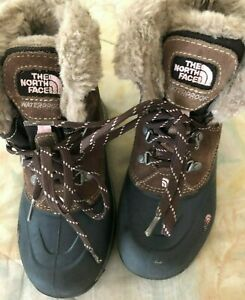 THE NORTH FACE H.O.T 200 Gram Insulation Boots Girls Sz US 4  LaceUp Faux Fur