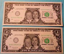 2 Vintage 1996 Bill & Hillary Clinton Novelty 4 Dollar Bills