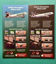 2 FRONTIER AIRLINES SAFETY CARDS--AIRBUS 320,321–MARCH 2018