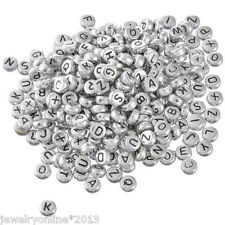 500 Silbergrau Flach Buchstaben Acryl Spacer Perlen Beads 7mm
