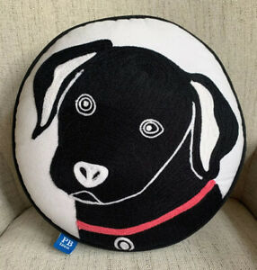 """Pottery Barn Teen Throw Pillow Dog Black Lab Round Embroidered Decorative 14"""""""