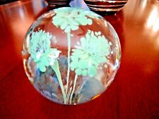 Vintage Robert Hamon Art Glass 3 Flower PAPERWEIGHT Green Frit Scott Depot