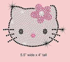 Hello Kitty iron on rhinestone transfer applique bling patch DIY decal