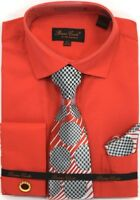 Men's Dress Shirt Tie Hanky Set Red French Cuff With Cuff links Spread Collar