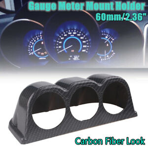 "1x 2"" 60mm Carbon Fiber Style 3 Pod Car Dashboard Gauge Mount Holder A Pillar"