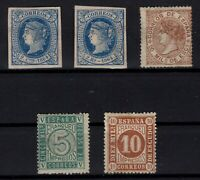 P133241/ SPAIN – 1864 / 1867 MINT NO GUM CLASSIC LOT – CV 310 $
