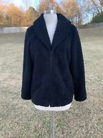 J. Jill Size Small Sweater Coat Black Plush Soft Jacket Fuzzy Boucle