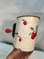 Bromwell's Vintage  Flour Sifter Apples Painted Red Wood Knob   3 Cups