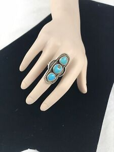 Vintage Sterling Silver Turquoise Navajo Southwestern Ring Sz. 9.