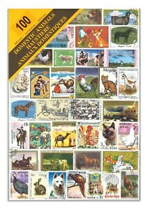 100 Different Domestic Animals Used Stamps Thematic Window Display Packet