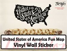 USA Script Letters Fun Map Vinyl Wall Sticker