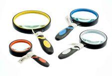 4pc Magnifying Glass Set Handheld Rubber Handles Glass Magnifer  7X 6X 5X 3X