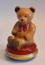 Halcyon Days Enamels English Miniature Christmas Teddy Bear Enamel Trinket Box