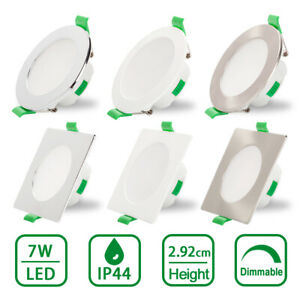 LED Recessed Ceiling Lights 7W Dimmable Ultra Slim Panel Downlight 1 or 6 Pack