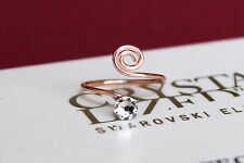 Swirl Rose Gold Plated Toe/Knuckle Ring with Clear Swarovski Crystals Elements