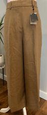 Massimo Dutti Brown Linen Wide Leg Croped Trousers Size 10UK