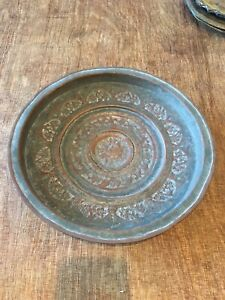 ANTIQUE 19`c PERSIAN HAND CRAFTED ENGRAVED SOLID COPPER  TRAY PLATE