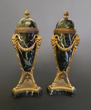 Pair Of Green Marble Mounted On Gilt Bronze Urn